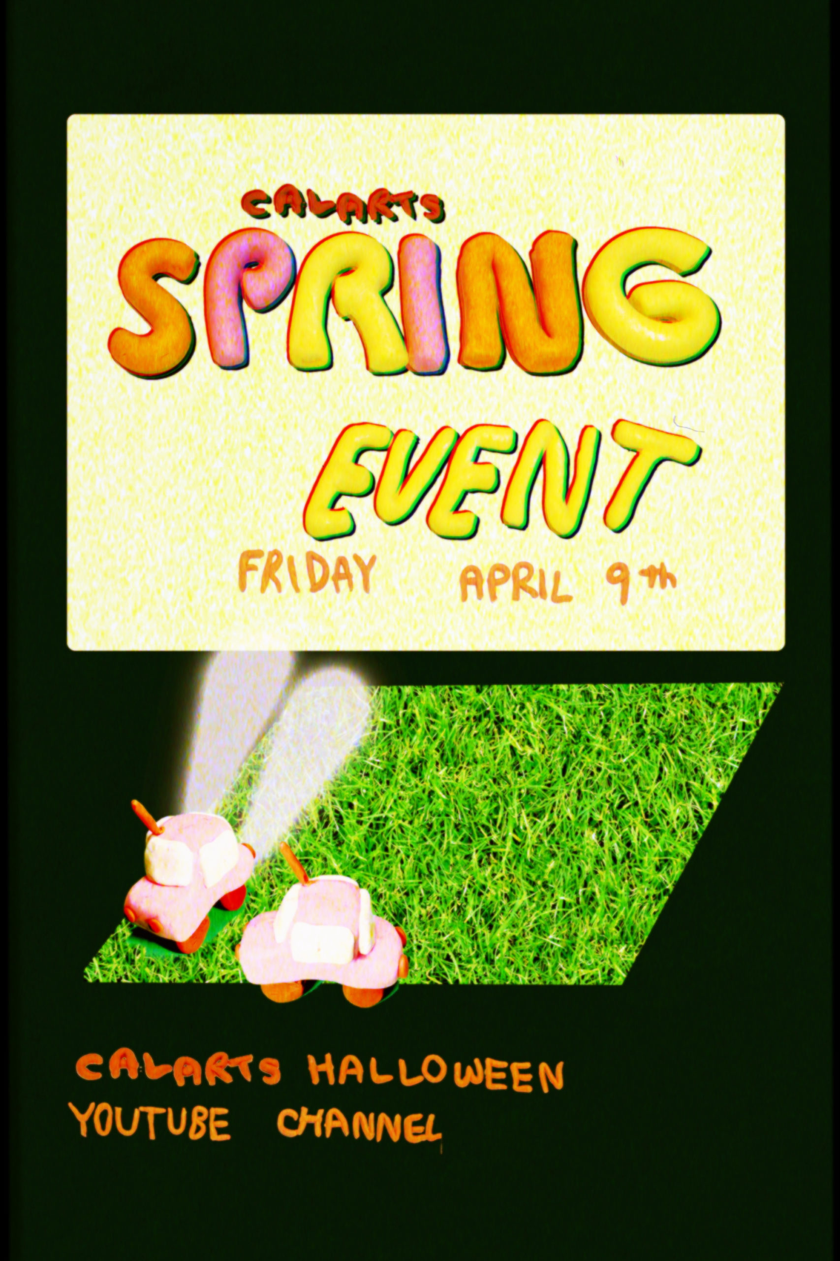 """Claymation cars at a drive-in where the screen says, """"CalArts Spring Event Friday April 9th"""" and """"CalArts Halloween YouTube Channel"""""""